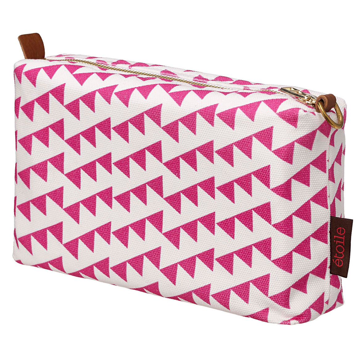 Bunting Geometric Pattern Canvas Wash Toiletry Travel Bag in Bright Fuchsia Pink Canada