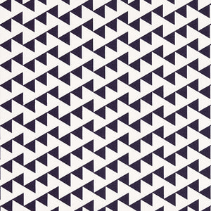 Bunting Geometric Pattern Cotton Linen Fabric in Dark Aubergine Purple