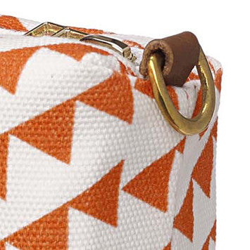 Bunting Geometric Pattern Cotton Canvas Wash Bag - Pumpkin Orange