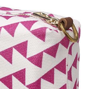 Bunting Geometric Pattern Canvas Wash (toiletry) Bag in Bright Fuchsia Pink
