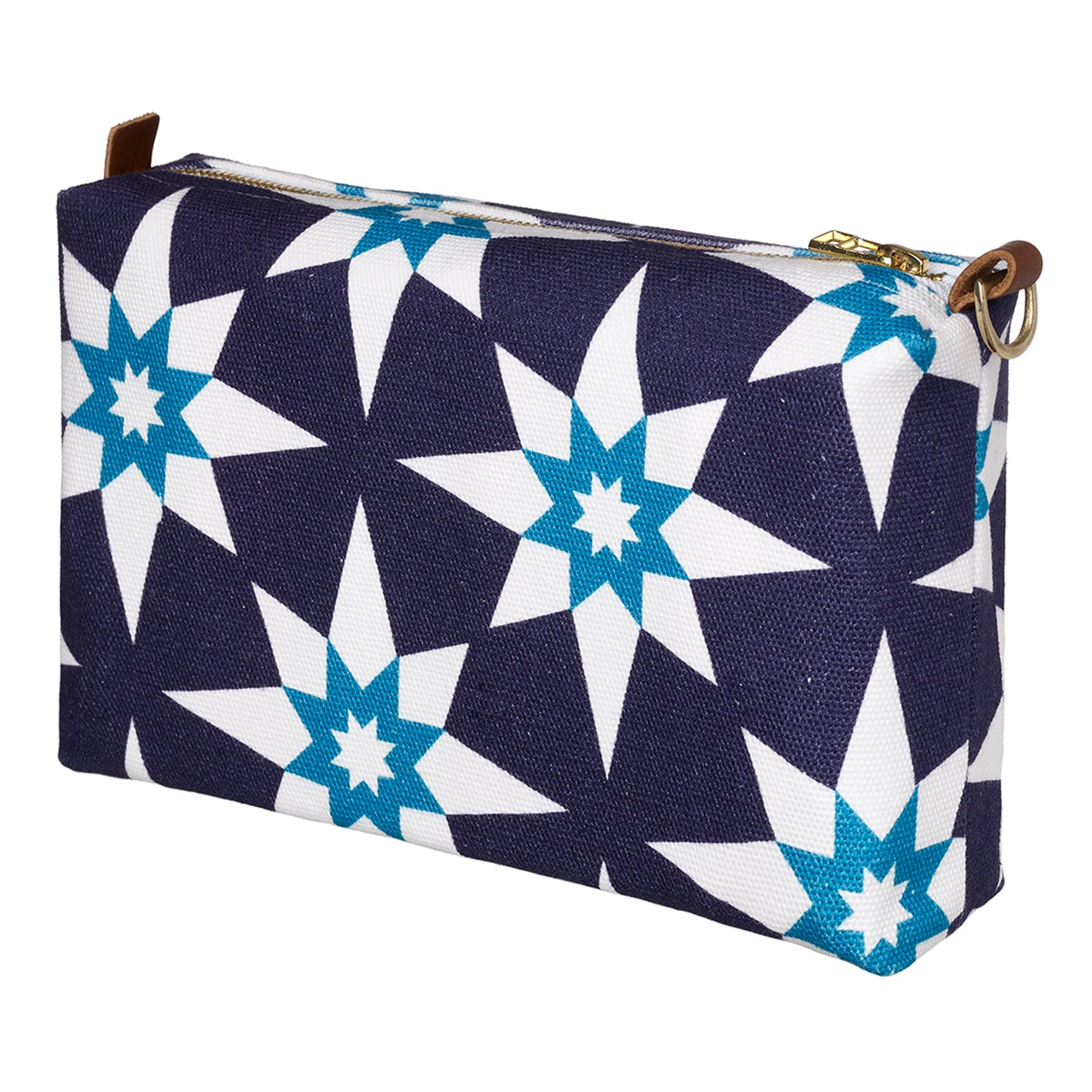 Cadiz Geometric Star Pattern Canvas Wash toiletry travel & cosmetics Bag - Aubergine Purple & Turquois ships from canada (USA)