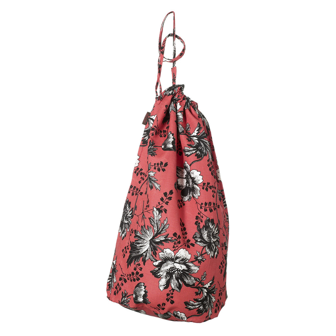 Corsica Floral Cotton Linen Laundry & Storage Bag in Geranium Red