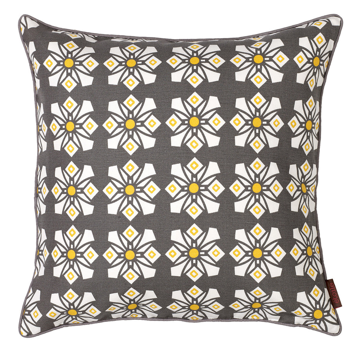 Dorothy Geometric Pattern Cotton Linen Cushion in Stone Grey 45x45cm