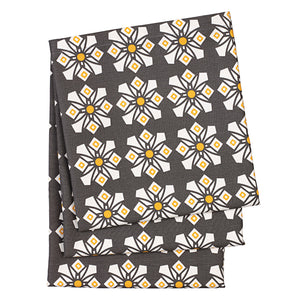 Dorothy Geometric Pattern Linen Cotton Tablecloth in Stone Grey and yellow Canada USA