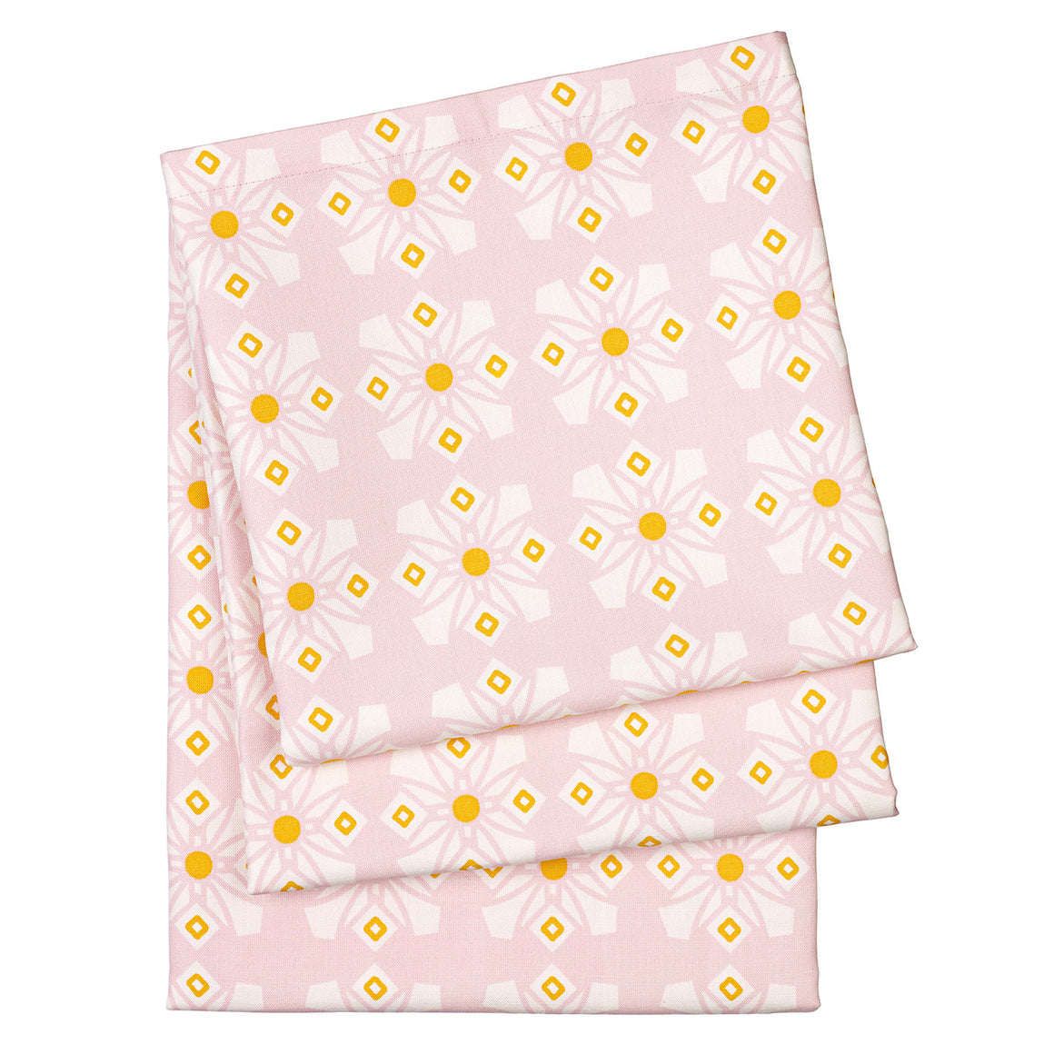 Dorothy Geometric Cotton Linen Tablecloth in Light Pink and saffron yellow ships from Canada worldwide (USA)