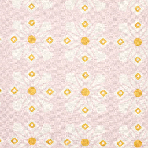 Dorothy Geometric Pattern Cotton Linen Fabric by the Meter in Light Tea Rose Pink