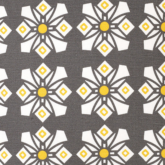 Dorothy Geometric Pattern Cotton Linen Fabric by the Meter in Stone Grey & Yellow