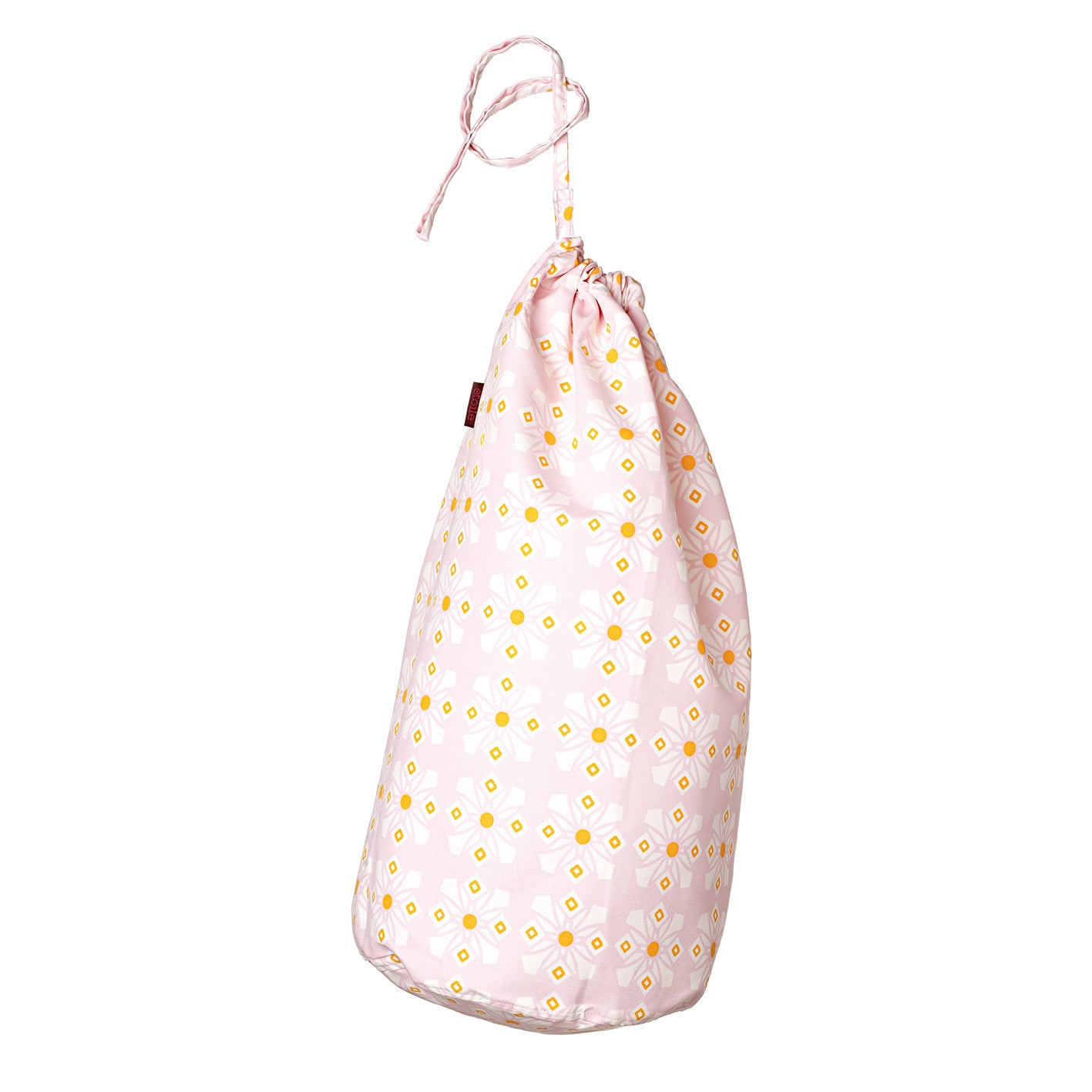 Dorothy Geometric Pattern Printed Cotton Linen Drawstring Laundry & Storage Bag - Tea Rose Light Pink and Yellow - Canada (USA)