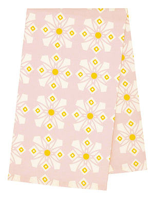 Dorothy Geometric Patterned Screen Printed Linen Union Tea Towel in Light Tea Rose Pink