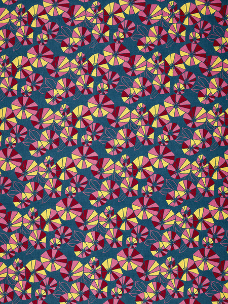 Graphic Eden Floral Pattern Printed Linen Cotton Canvas Fabric in Dark Petrol Blue, Red, Yellow and Pink