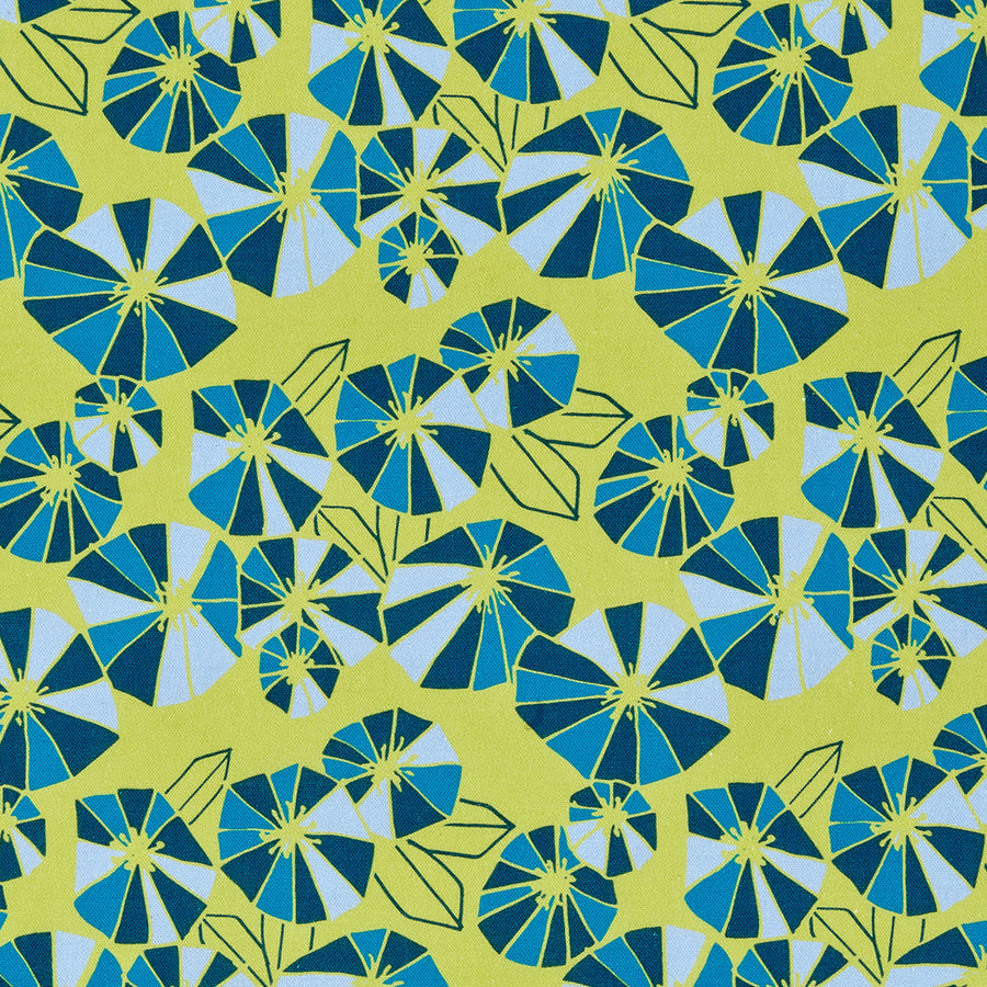 Graphic Eden Floral Pattern Printed Linen Cotton Canvas Fabric in Bright Chartreuse Yellow and pale winter,  dark petrol & turquoise blue