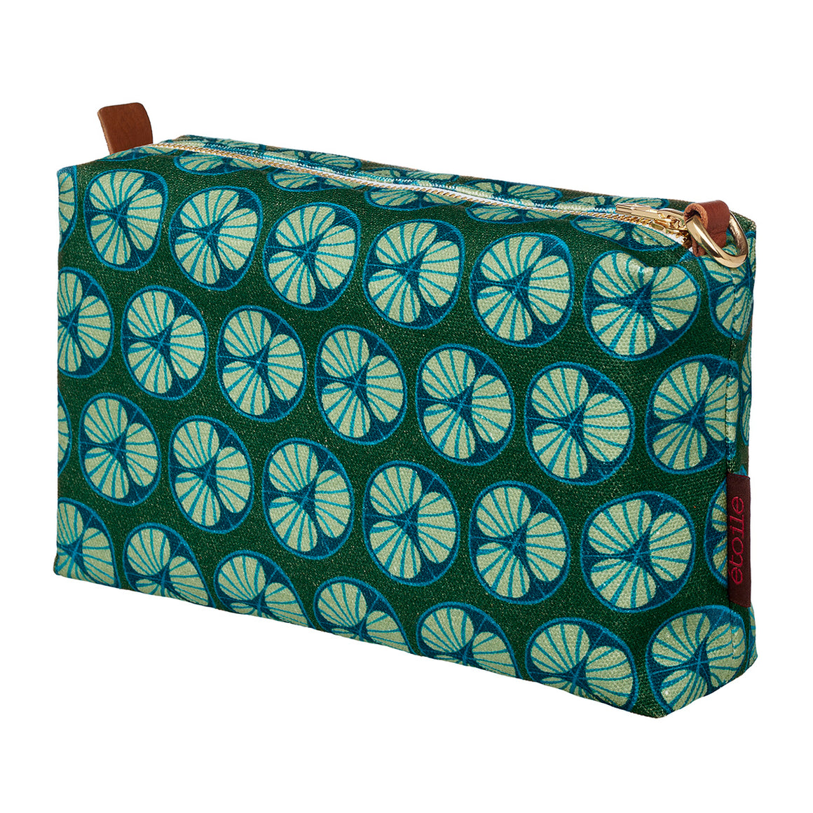 Dark green pattern canvas toiletry travel bag for all your cosmetics stain and water resistant Ships from Canada