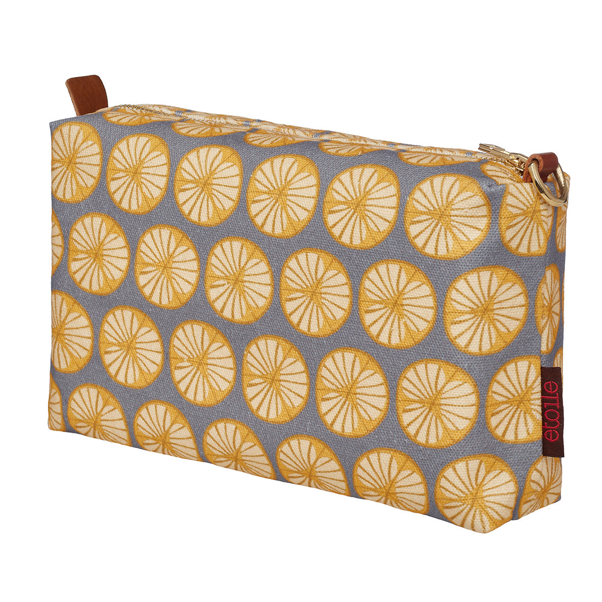 Graphic Cross Section of a Fruit Pattern Printed Cotton Canvas Toiletry Travel Bag in Light Dove Grey and Saffron Yellow Ships from Canada Perfect for shaving, cosmetics and wash kit (USA)