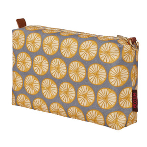 Graphic Cross Section of a Fruit Pattern Printed Cotton Canvas Toiletry Travel Bag in Light Dove Grey and Saffron Yellow Ships from Canada Perfect for shaving, cosmetics and wash kit