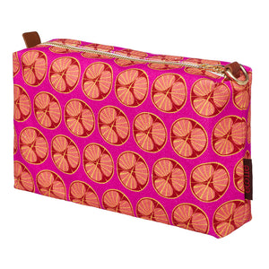 Graphic Cross Section of a Fruit Pattern Printed Cotton Canvas Toiletry Travel Bag in Fuchsia Pink and Coral Ships from Canada perfect for all your cosmetics, wash and shaving kit (USA)
