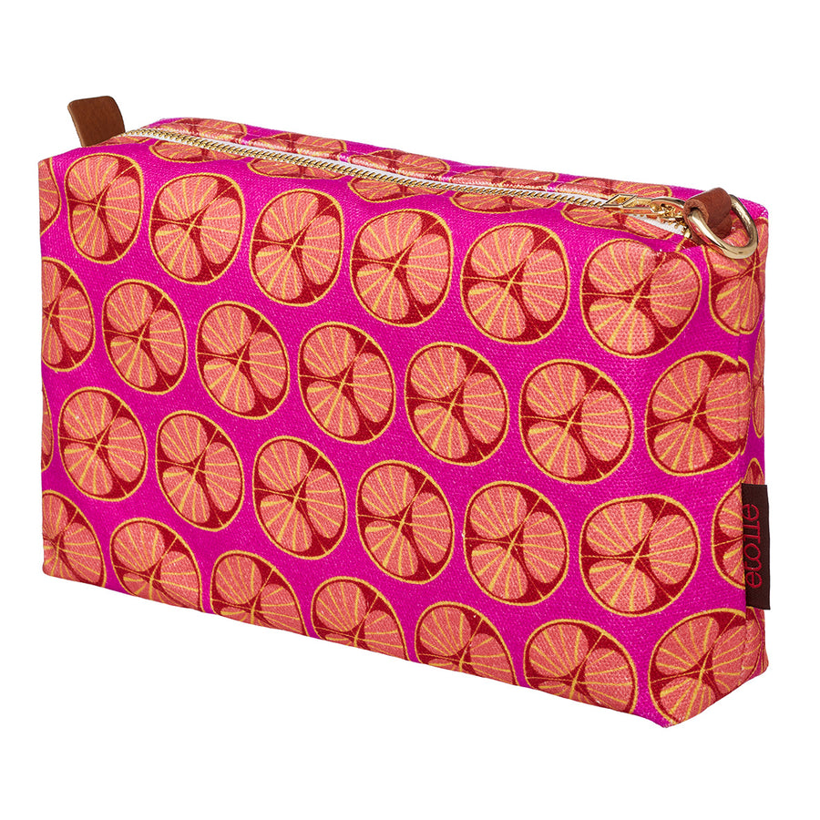 Graphic Cross Section of a Fruit Pattern Printed Cotton Canvas Toiletry Travel Bag in Fuchsia Pink and Coral Ships from Canada perfect for all your cosmetics, wash and shaving kit