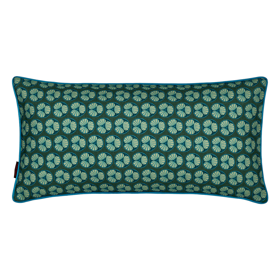 Graphic Fruit Cross Section Pattern Linen Union Printed Cushion in Dark Moss Green