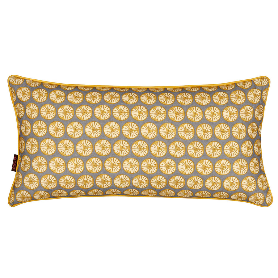 "Graphic Fruit Cross Section Pattern Linen Union Printed Decorative Throw Pillow in Light Dove Grey and Saffron Yellow 12x24"" 30x60cm"