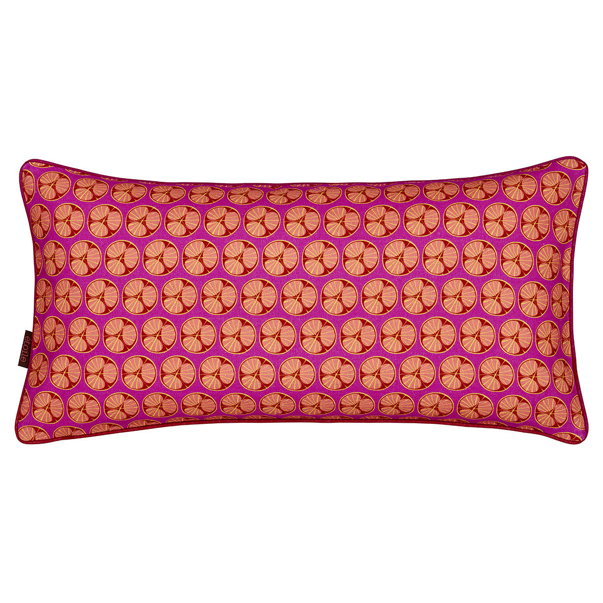 Graphic Fruit Cross Section Pattern Linen Union Printed Cushion in Fuchsia Pink