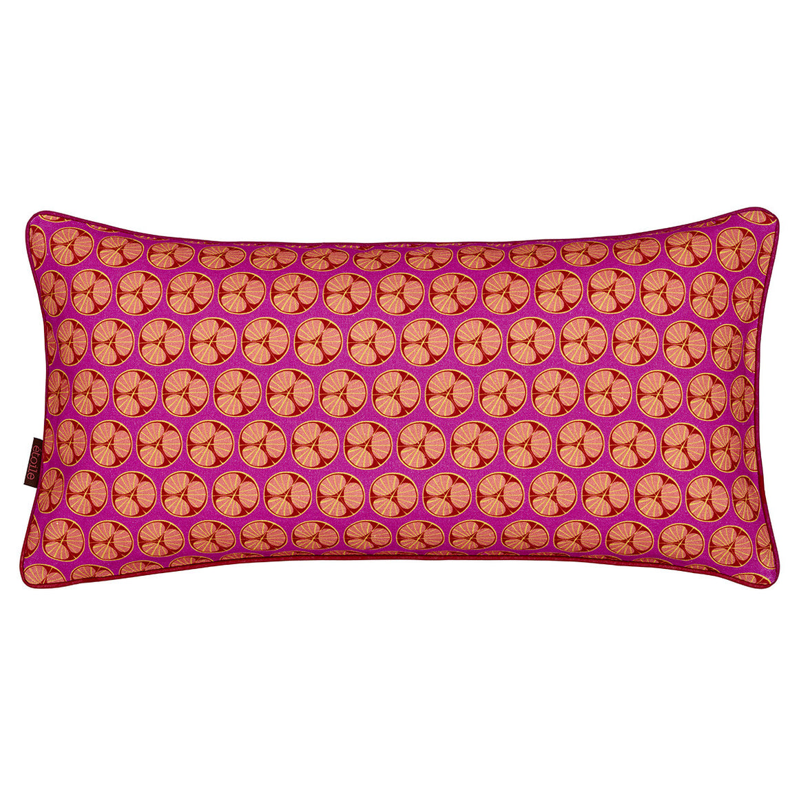 "Graphic Fruit Cross Section Pattern Linen Union Printed Decorative Throw Pillow in Fuchsia Pink 12x24"" 30x60cm"