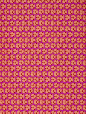 Graphic Cross Section of Fruit  Pattern Printed Linen Cotton Canvas Fabric in Fuchsia Pink, Red, Coral