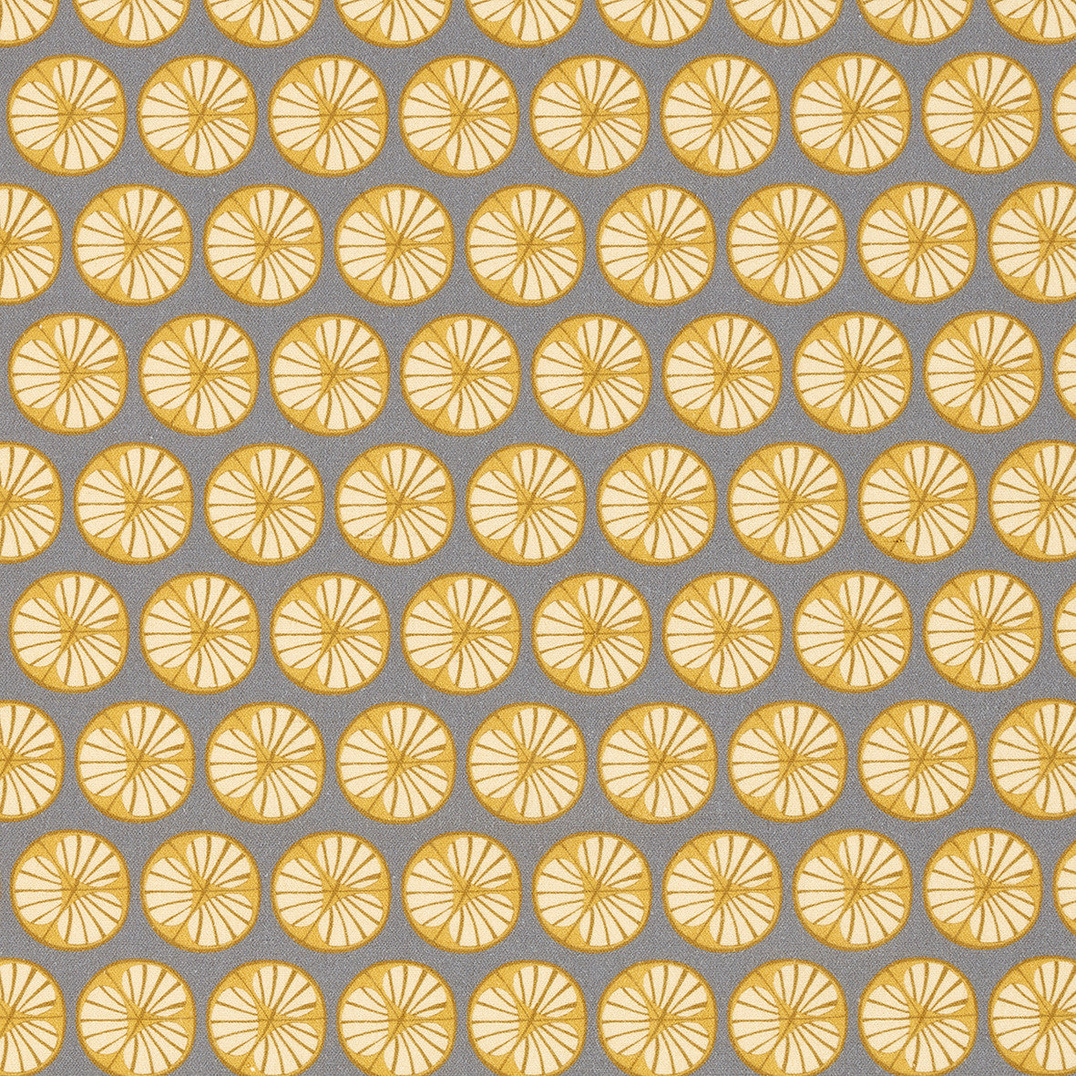 Graphic Cross Section of Fruit Pattern Printed Linen Cotton Canvas Fabric in Light Dove Grey and Saffron Yellow