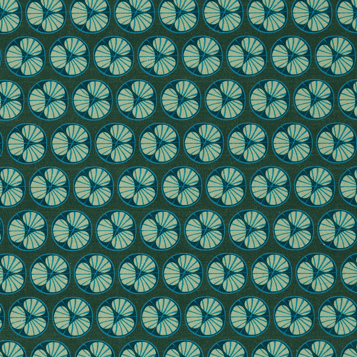 Graphic Cross Section of Fruit Pattern Printed Linen Cotton Canvas Fabric in Dark Moss Green