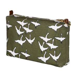 Geese Bird Pattern Canvas Wash toiletry travel Bag in Olive Green Perfect for all your cosmetics, wash or shaving kit. Ships from Canada (USA)