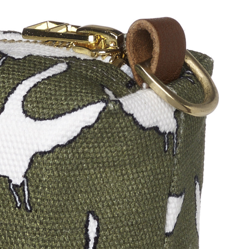 Geese Bird Pattern Canvas Wash (toiletry) Bag in Olive Green