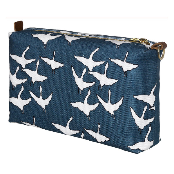 Geese Bird Pattern Canvas Wash (toiletry) Bag - Dark Petrol Blue