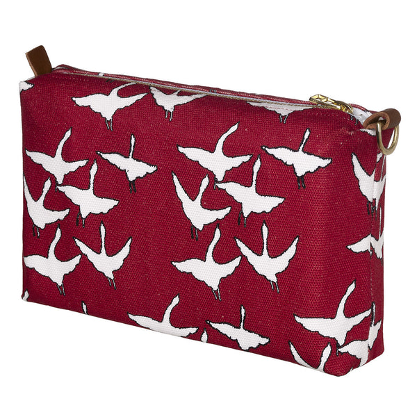 Geese Bird Pattern Canvas Wash (toiletry) Bag in Dark Vermilion Red