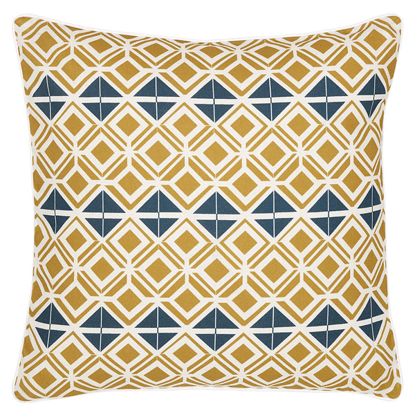 Glasswork Geometric Linen Cushion in Gold and Dark Petrol Blue