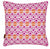 "Glasswork Geometric Pattern Linen Throw Pillow in Fuchsia Pink & Pumpkin Orange 45x45cm or 18x18"" Ships from Canada worldwide"