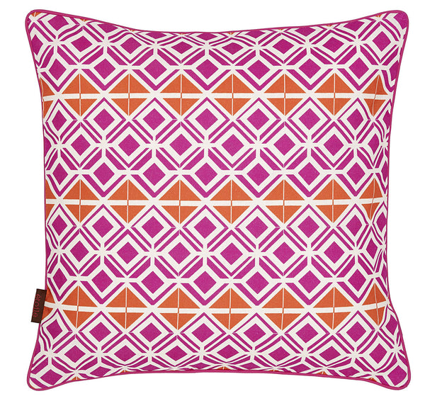 Glasswork Geometric Pattern Linen Cushion in Fuchsia Pink & Pumpkin Orange