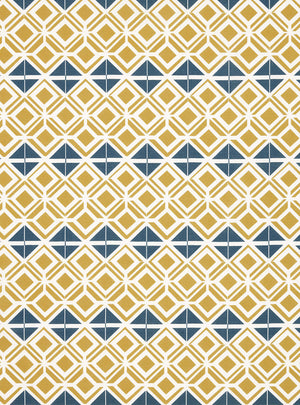 Glasswork Geometric Pattern Cotton Linen Fabric by the Meter in Gold & Dark Petrol Blue