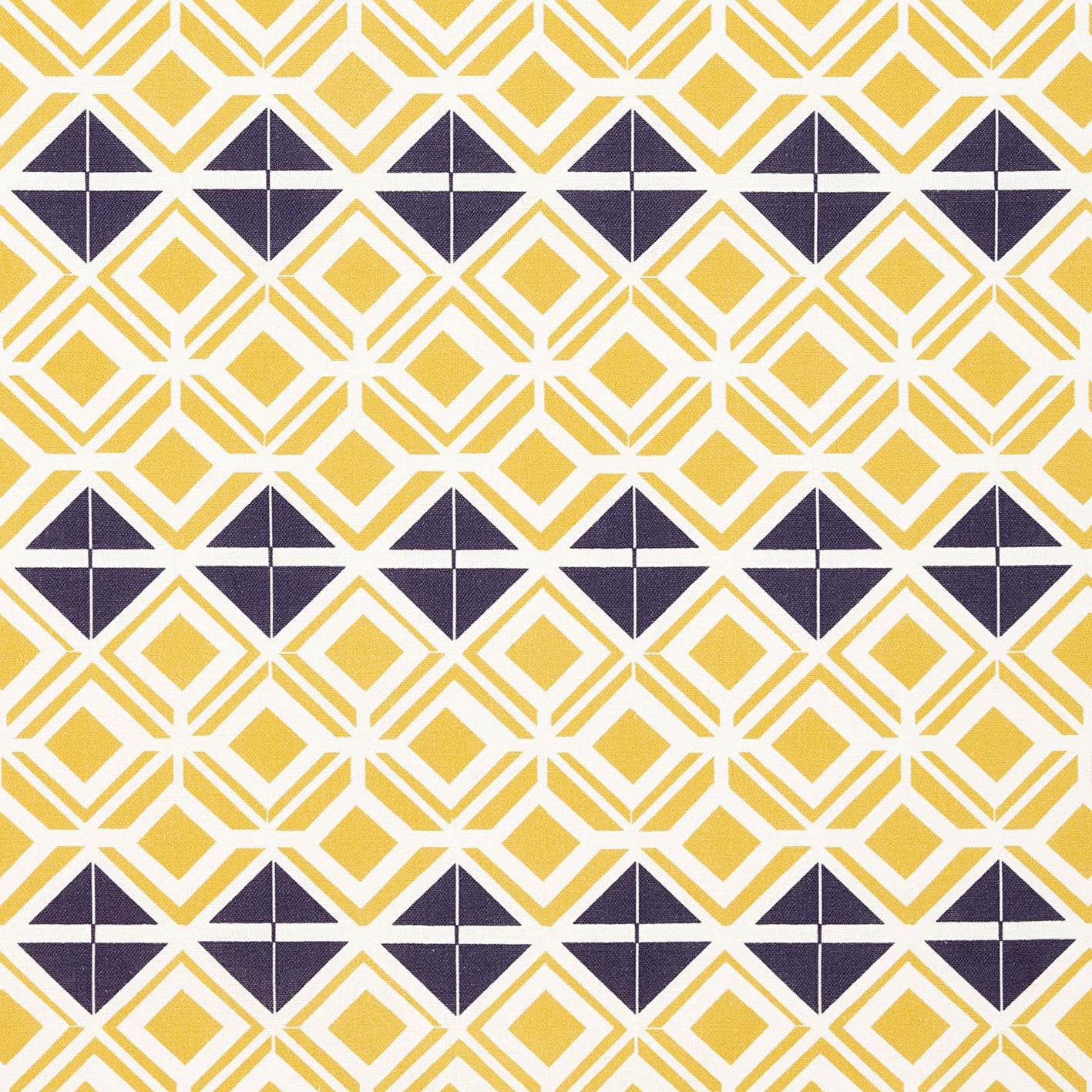 Glasswork Geometric Pattern Cotton Linen Fabric by the Meter in Maize Yellow & Aubergine Purple