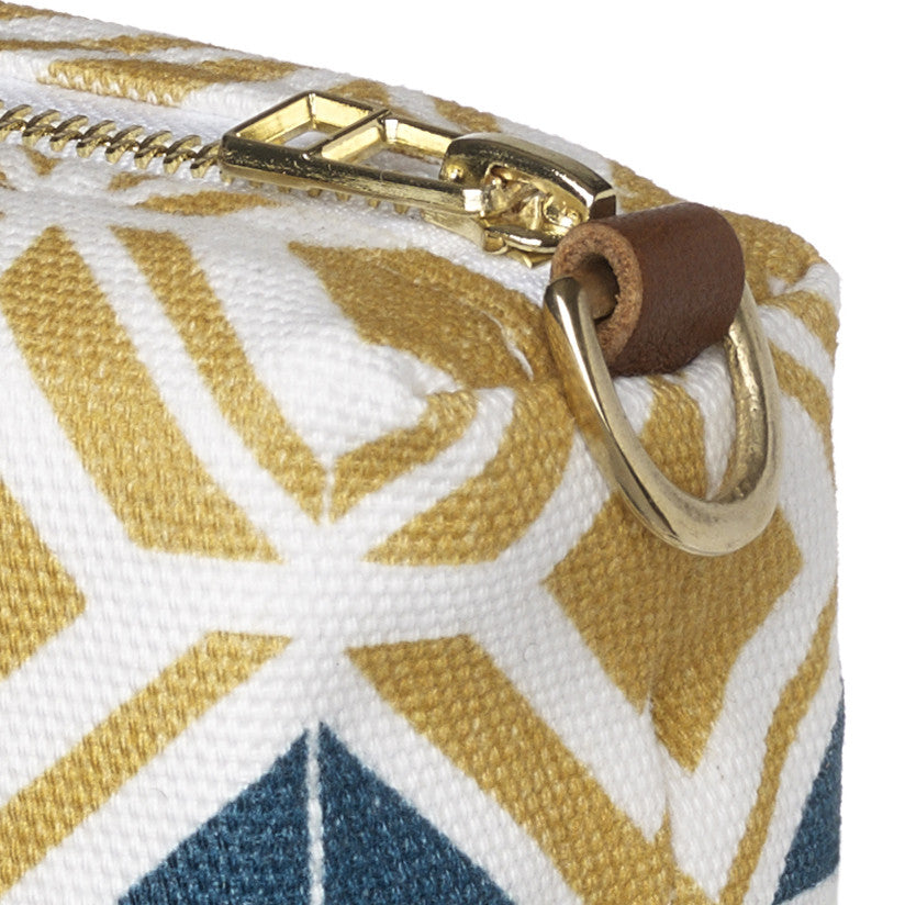 Glasswork Geometric Pattern Canvas Wash (toiletry) Bag - Gold / Petrol Blue