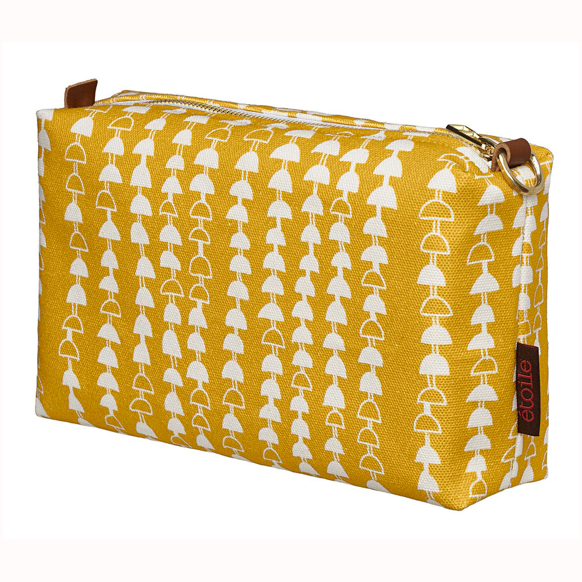 Hopi Graphic Pattern Canvas Toiletry Wash Travel Bag in Mustard Gold Perfect for cosmetics, shave and travel kit Ships from Canada