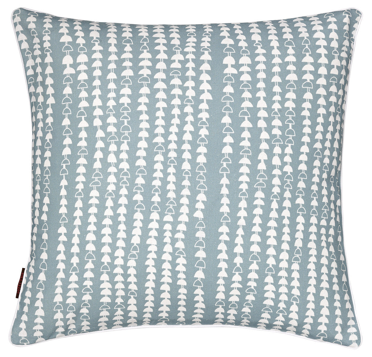 Hopi Graphic Pattern Linen Union Cushion in Light Chambray Blue