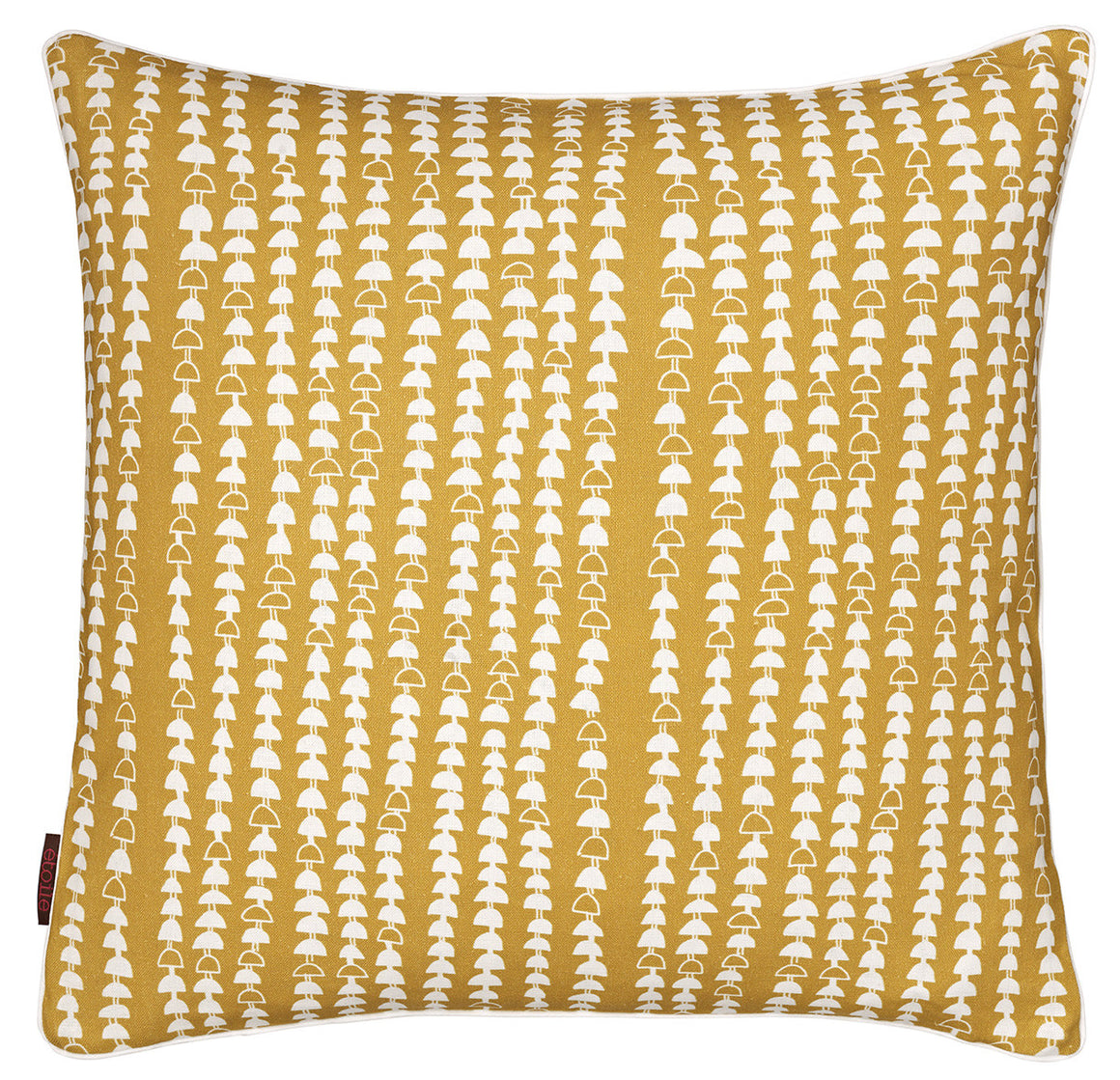 Hopi Graphic Patterned Linen Cushion in Mustard Gold