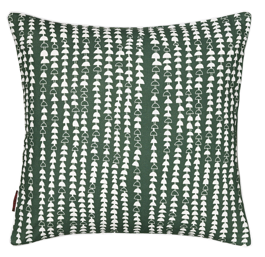 Hopi Graphic Pattern Cotton Linen Decorative Throw Pillow in Dark Moss Green 45x45cm 18x18""