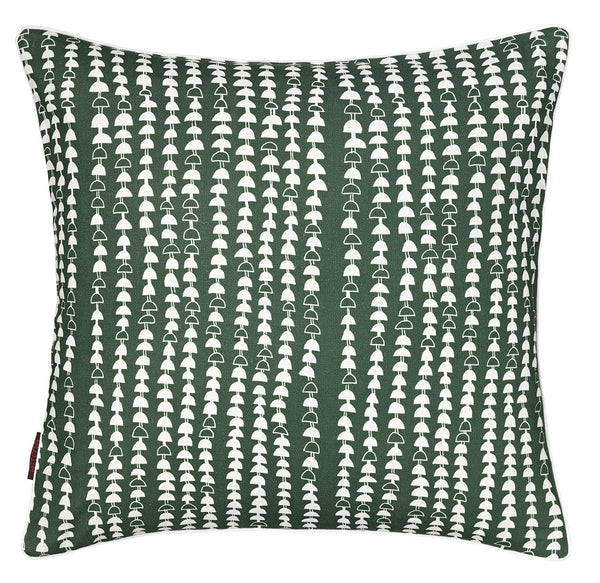 Hopi Graphic Pattern Cotton Linen Cushion in Dark Moss Green