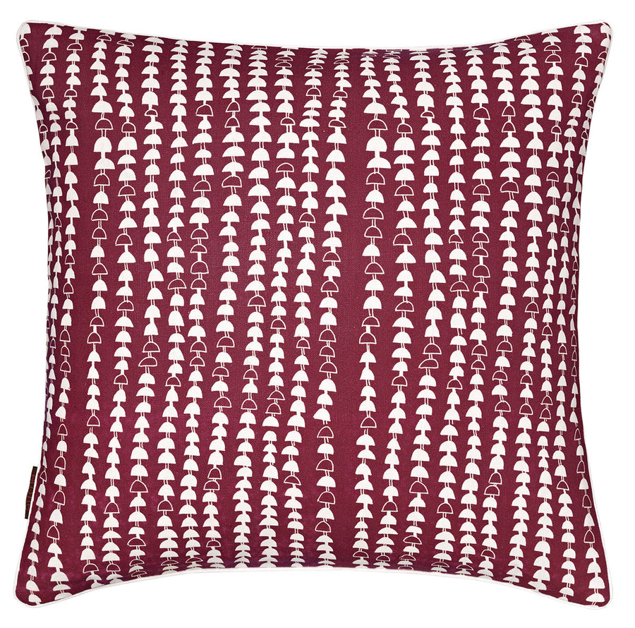 Hopi Graphic Patterned Linen Decorative Throw Pillow in Dark Vermilion Red 45x45cm 18x18""