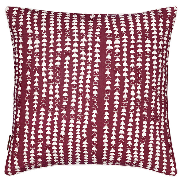 Hopi Graphic Patterned Linen Cushion in Dark Vermilion Red