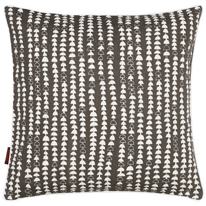Hopi Graphic Patterned Linen Cotton Cushion in Stone Grey