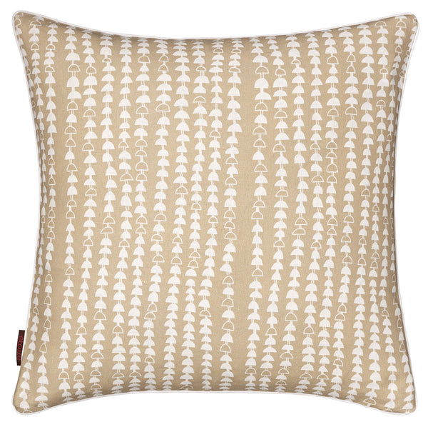 Hopi Graphic Patterned Linen Union Cushion (Cream) Earth