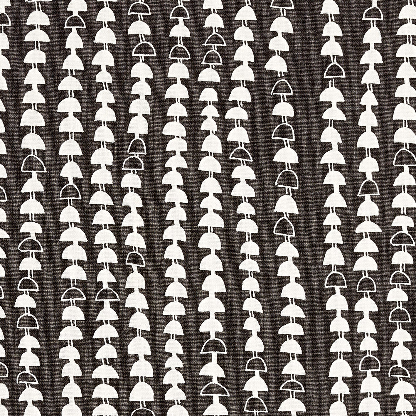 Hopi Graphic Strung Bead Pattern Linen Cotton Designer Home Decor Fabric for curtains, blinds, upholstery in Dark Stone Grey (Brown) ships from Canada to USA