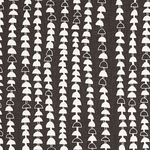 Hopi Graphic Strung Bead Pattern Linen Cotton Home Decor Fabric for curtains, blinds, upholstery in Dark Stone Grey (Brown) by the meter or by the yard ships to Canada to USA