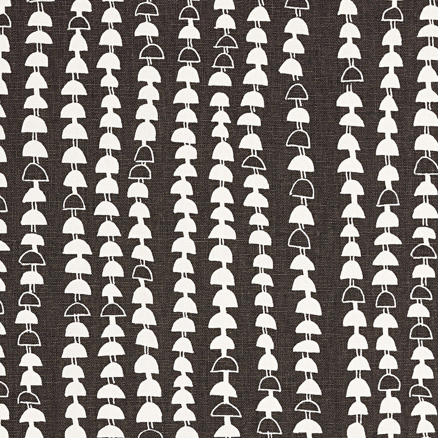 Hopi Graphic Strung Bead Pattern Linen Cotton Fabric in Dark Stone Grey