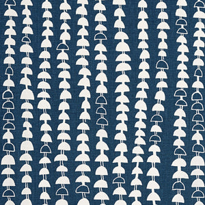 Hopi Graphic Strung Bead Pattern Linen Cotton Fabric in Dark Petrol Blue